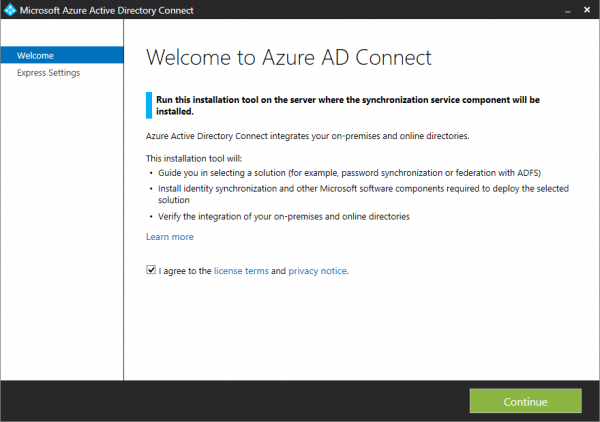 Azure AD Connect password synchronization installation