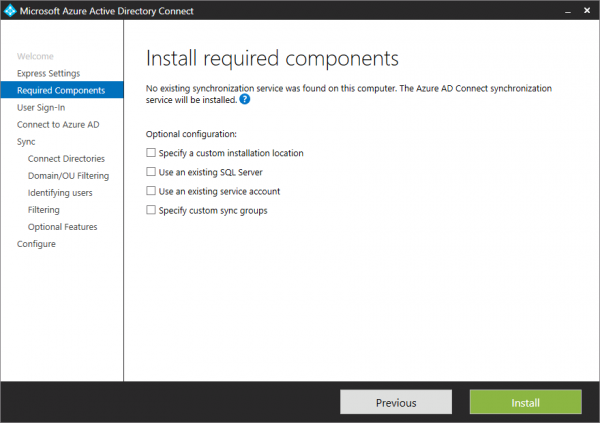 Azure AD Connect. Which components to install?