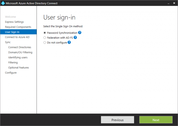 Azure AD Connect. Password sync of AD FS?