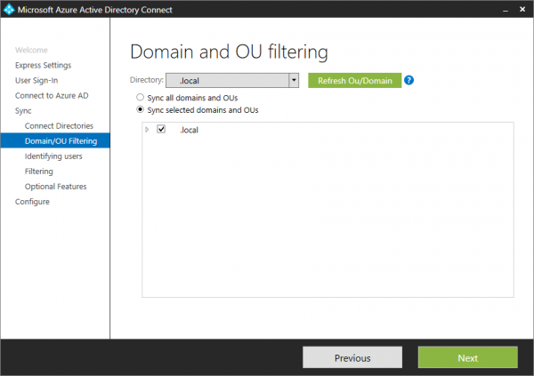 Azure AD Connect. How to select OU filtering.