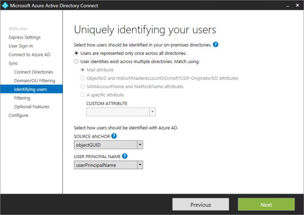 Azure AD Connect. How to configure what to sync.