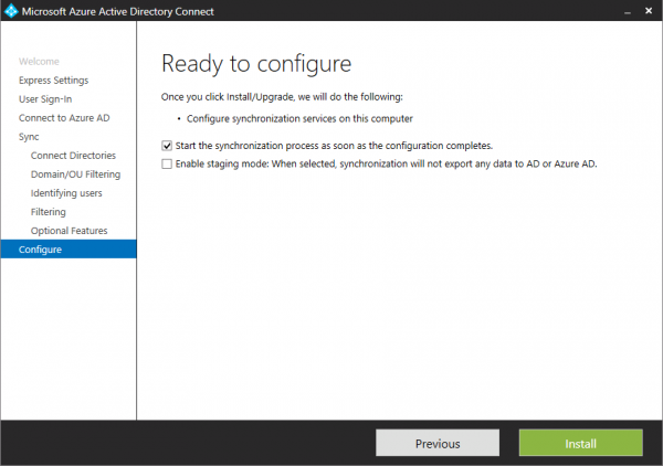 The Azure AD Connect installation is now ready to install.