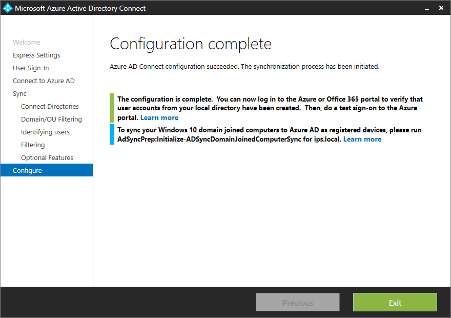 Install and configure Password Synchronization with Azure AD