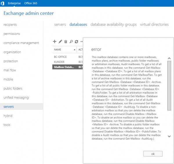 Exchange 2013: This mailbox database contains one or more mailboxes