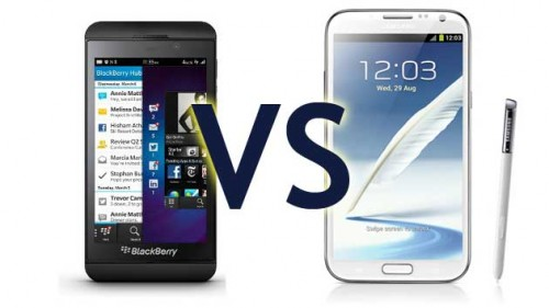 BlackBerry Z10 vs. Samsung Galaxy Note II – Comparison Video