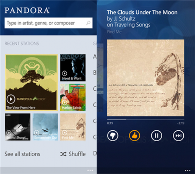 Pandora app for Windows Phone 8 released