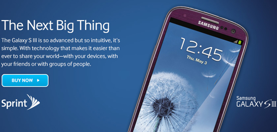 Sprint's 'Amethyst' purple Galaxy S III appears on Samsung's website
